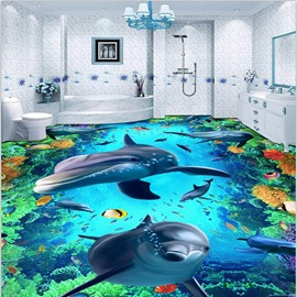 Fancy Creative Cute Dolphin Sea Scenery Home Decorative Waterproof and Antiskid 3D Floor Murals