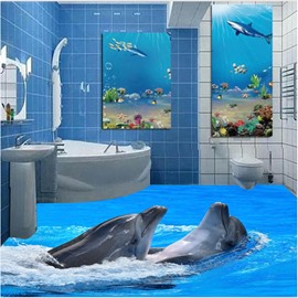 Two Lovely Dolphin Playing in the Sea Pattern Waterproof and Antiskid 3D Floor Murals
