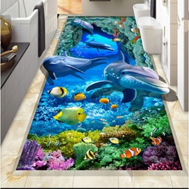 Unique Design Vivid Dolphin and Fish Sea Scenery Waterproof Custom Size 3D Floor Murals