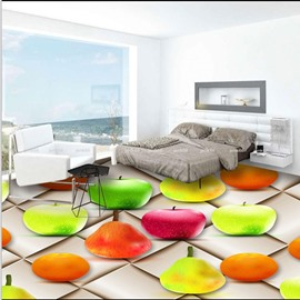 Fresh Colorful Fruit Pattern Home Decorative Antiskid and Waterproof 3D Floor Murals