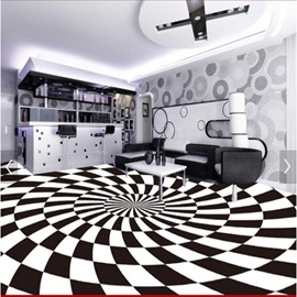Simple Style Black and White Irregular Grid Pattern Splicing Waterproof 3D Floor Murals