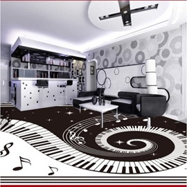 3D Piano Music Notes Pattern PVC Waterproof Eco-friendly Non-slip Self-Adhesive Floor Murals