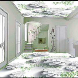 Elegant White Flowers and Green Plants Pattern Antiskid and Waterproof 3D Floor Murals
