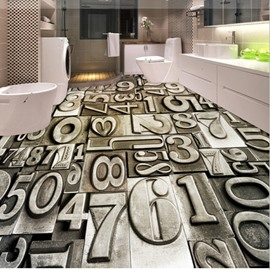 Unique Design Arabic Numerals Antiskid and Waterproof 3D Floor Murals