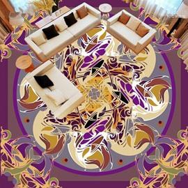 Purple Round Flowers Pattern Design Home Decorative Splicing Waterproof 3D Floor Murals