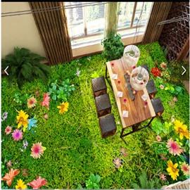 Splendid Grass and Flower Garden Scenery Healthy Waterproof Decorative 3D Floor Murals