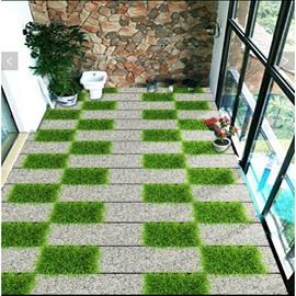 White and Green Grass Grid Pattern Splicing Waterproof Decorative Waterproof 3D Floor Murals