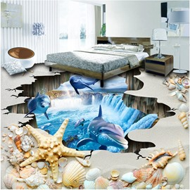 Amazing Dolphins in a Broken Hole Waterfall Background Splicing Waterproof 3D Floor Murals