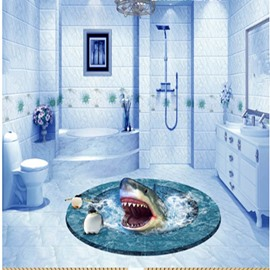 Round Creative Shark in a Hole Bathroom Decoration Splicing Waterproof 3D Floor Murals