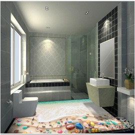 Simple Style Colorful Stone on the Beach Design Home Decorative 3D Floor Murals