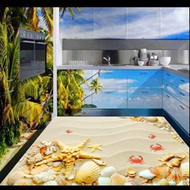 Leisurely Seashells and Starfishes on the Beach Splicing Waterproof 3D Floor Murals