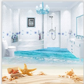 3D Starfish and Sea Scenery PVC Waterproof Eco-friendly Non-slip Self-Adhesive Floor Murals