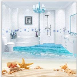 Fantastic Starfish and Sea Scenery Bathroom Decoration Wallpaper Waterproof 3D Floor Murals
