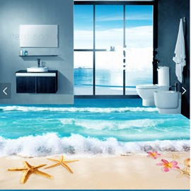 Starfish Flower and Shell on Beach Pattern Non-slip and Waterproof 3D Floor Murals