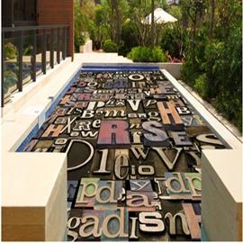 Classic Unique Modern Design Letters Pattern Waterproof Decorative 3D Floor Murals