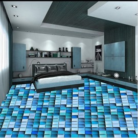 Colorful Fashion Design Grid Pattern Splicing Waterproof 3D Floor Murals