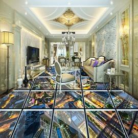 Realistic Transparent Glass City Scenery Pattern Splicing Waterproof 3D Floor Murals