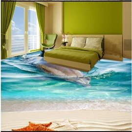 Awesome Vivid Design Dolphin in the Sea Pattern Splicing Waterproof Wallpaper 3D Floor Murals