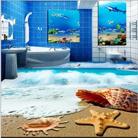 Fantastic Sea Wave Beach Scenery Pattern Waterproof Splicing 3D Floor Murals
