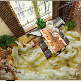 Classic Three-dimensional Dragon and Phoenix Pattern Home Decorative Waterproof 3D Floor Murals