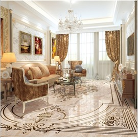 European Style Simple Flower Pattern Decorative Waterproof Splicing 3D Floor Murals