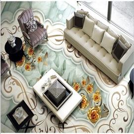 Elegant European Style Flower Pattern Antiskid and Waterproof 3D Floor Murals