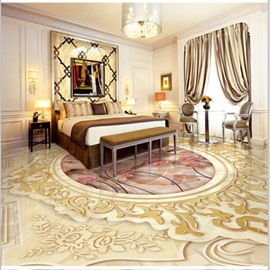 Amazing European Style Pink Flowers Pattern Home Decorative Waterproof 3D Floor Murals