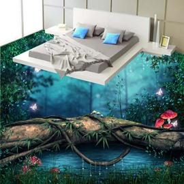 Wonderful Lake in the Forest Quiet Night Scenery Pattern Waterproof 3D Floor Murals