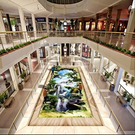 Fabulous Modern Design Waterfall Scenery Pattern Waterproof Splicing 3D Floor Murals