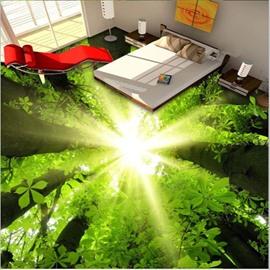 Natural Sunlight Green Forest Pattern Waterproof Splicing 3D Floor Murals