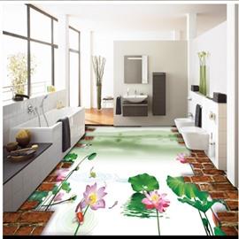 Amazing Natural Lotus Pattern Room Decoration Waterproof Splicing 3D Floor Murals