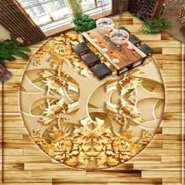Golden Flower Pattern Living Room Decoration Waterproof Splicing 3D Floor Murals