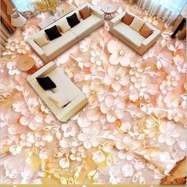 Warm Pink Flower Pattern Living Room Decoration Waterproof Splicing 3D Floor Murals