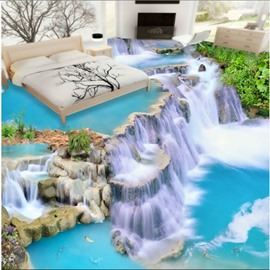 3D Waterfall Pattern PVC Waterproof Non-slip Self-Adhesive Eco-friendly Floor Murals