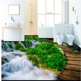 Wonderful Decorative Waterfall and Bridge Pattern Wallpaper Waterproof 3D Floor Murals