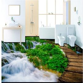 Wonderful Decorative Waterfall and Bridge Pattern Wallpaper Waterproof 3D Floor Murals