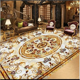 Golden Floral Prints Luxurious Splicing 3D White Waterproof Floor/Ceiling Murals