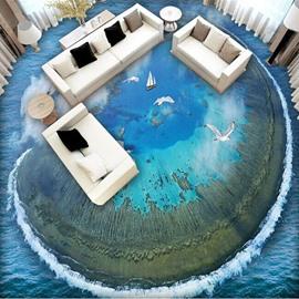 Splendid Creative Sea Gull Flying over the Sea Pattern Waterproof Splicing 3D Floor Murals