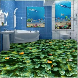 Colorful Fishes Playing in the Green Corals Pattern Decorative Waterproof 3D Floor Murals