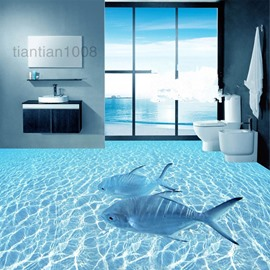 Blue Fishes Swimming in The Sea Splicing 3D Waterproof Floor/Wall Murals