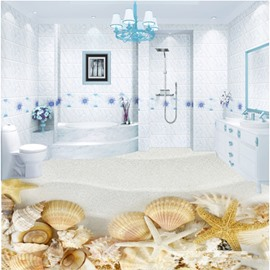 Simple Style Seashells and Starfishes Beach Scenery Pattern Waterproof Splicing 3D Floor Murals