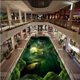 Creative Green Tornado and Fire Balloon Pattern Antiskid and Waterproof 3D Floor Murals