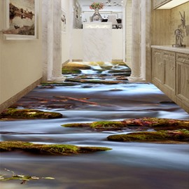Modern Simple River Scenery Pattern Waterproof Home Decorative 3D Floor Murals