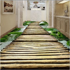 Simple Country Style Wooden Bridge Pattern Waterproof 3D Floor Murals