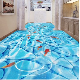 Goldfishes Playing in the Limpid Water Pattern Nonslip and Waterproof 3D Floor Murals
