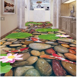 Leisurely Cobblestones and Goldfishes in the Water Decorative Waterproof 3D Floor Murals