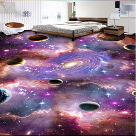 Mysterious Planets in Galaxy Print Home Decorative Waterproof Splicing 3D Floor Murals