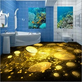 Sparkling Amusing Design Golden Coins Print Waterproof Splicing Decorative 3D Floor Murals