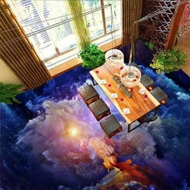 Unique Design Sunlight in Clouds Print Home Decorative Waterproof 3D Floor Murals