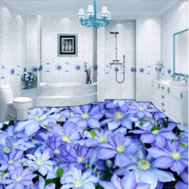 Purple Fresh Little Flowers Print Waterproof Splicing Home Decorative 3D Floor Murals